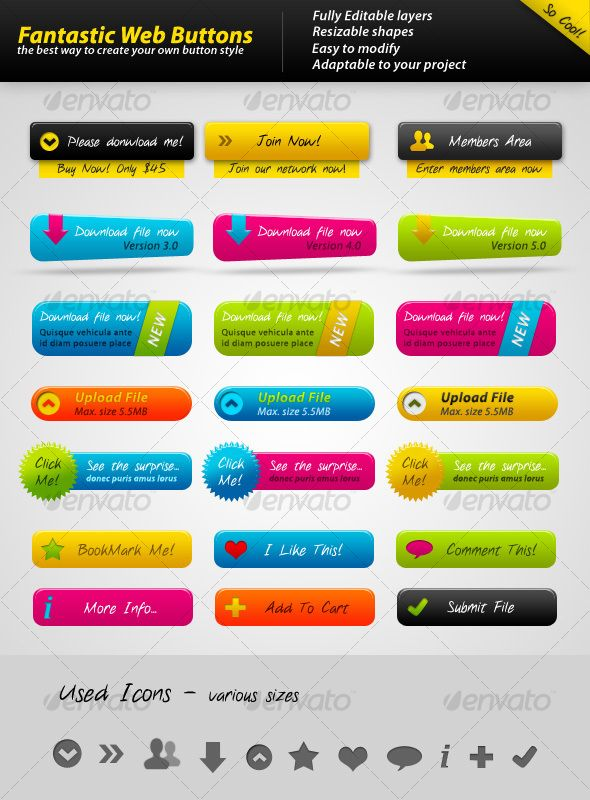 Fantastic Web Buttons PSD #design Download: http://graphicriver.net/item/fantastic-web-buttons/101674?ref=ksioks