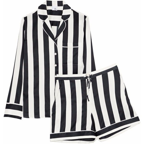 IRIS AND INK   Devon striped stretch-silk pajama set ($310) ❤ liked on Polyvore featuring intimates, sleepwear, pajamas, stripes, striped pjs, striped pajama set, striped pyjamas and striped pajamas