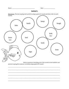Articulation worksheets for l