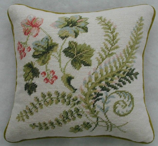 Williamsburg Fiddlehead Botanical Needlepoint Pillow