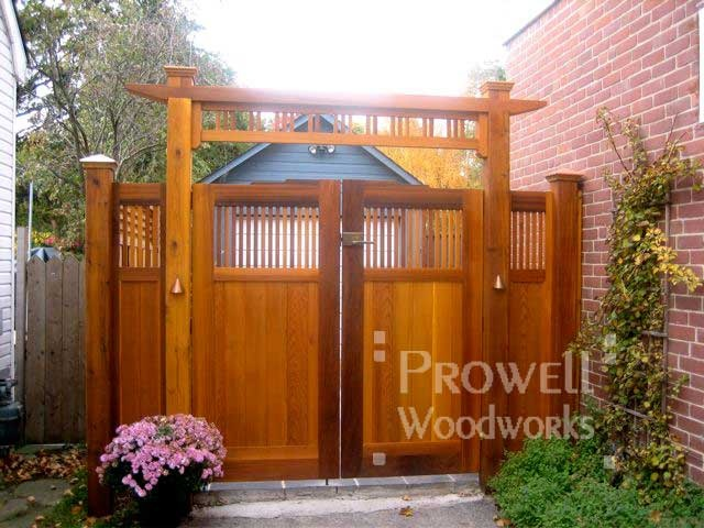 Wooden Garden Arbor With Gate | ... Garden Gate #24 . An assembly that include double gate, two flanking