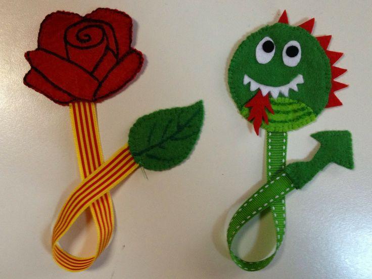 Una manualidad muy sencilla de hacer para este Sant Jordi: unos puntos de libro en forma de rosa y dragón.