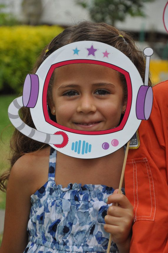 Space Rocket party pdf printable outer space photo booth props - astronaut helmet, spaceship, alien eyes with pink girl & blue boy astronaut