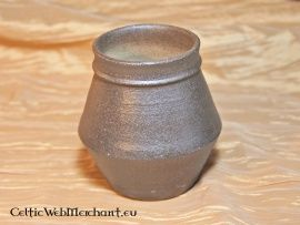 Early Medieval jar 8 cm This pot is made after a 7th century Frankish original. In any case they occurred in The Netherlands, Germany and some regions of France. Possibly pots like this were also used by the Viking people of Scandinavia. It is completely handmade of clay from the Rhineland that was traded to The Netherlands, Germany and Italy around the Middle Ages.