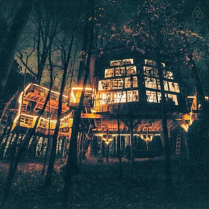 Places To Rent Out: Bolt Farm Enchanted Treehouse At Night