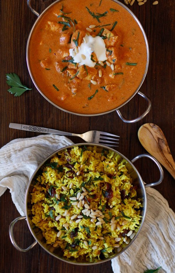 Crock Pot Chicken Tikka Masala with Ginger and Turmeric Aromatic Rice