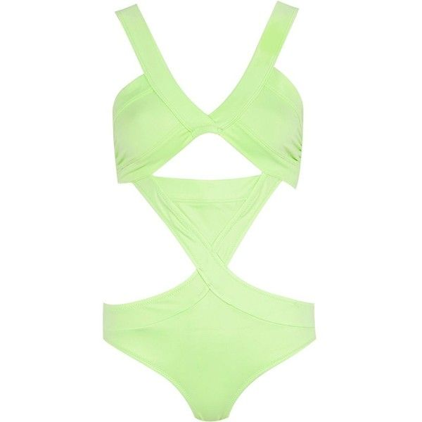 River Island Light green bandage swimsuit ($47) ❤ liked on Polyvore featuring swimwear, one-piece swimsuits, swimsuits, bikinis, green, cut out one piece swimsuits, green bikini, bandage bikini, swimsuit swimwear and cut out bikini