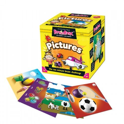 My First Pictures is the youngest of the range helping children recognise objects and names of items from household, holiday and everyday scenes. In this game there are 55 playing cards all beautifully illustrated to create the perfect early year's educational game. #pictures #learning #brainbox #camelotkids