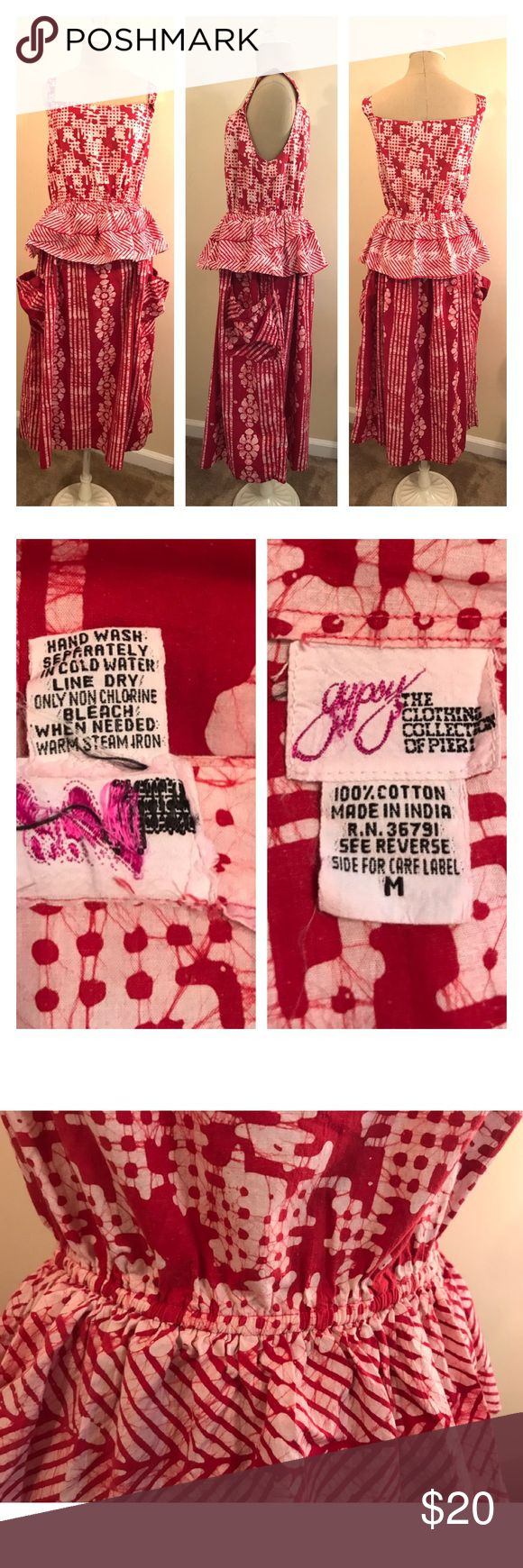 "Gypsy brand by Pier 1 vintage batik dress M Interesting festival dress with batik pattern by Gypsy / Pier 1 size medium. Underarm to underarm 19""shoulder to hem 48"". Dresses"