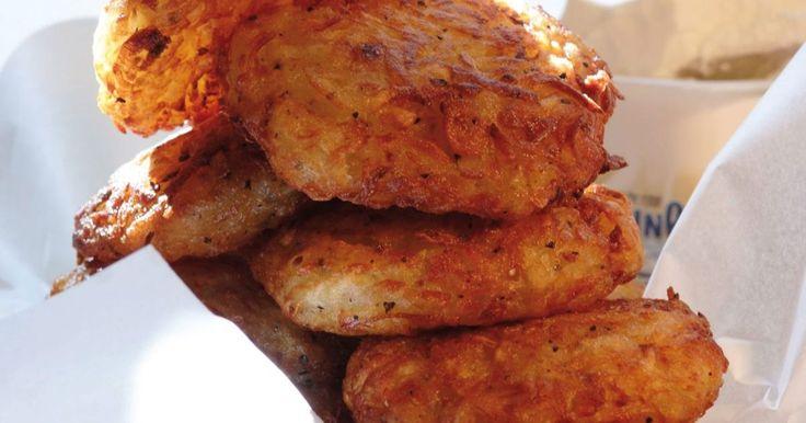 By frying mashed potato patties golden brown, you make delicious Hanukkah latkes.
