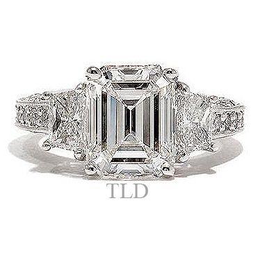 Perfect Emerald cut diamond engagement ring