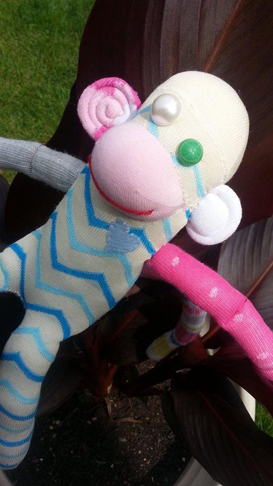 Plush Smook the Sock Monkey by BananaAndySockMonkey on Etsy, $27.00