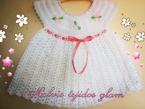 vestido para bebé tejido a crochet o ganchillo fácil y rápido - YouTube