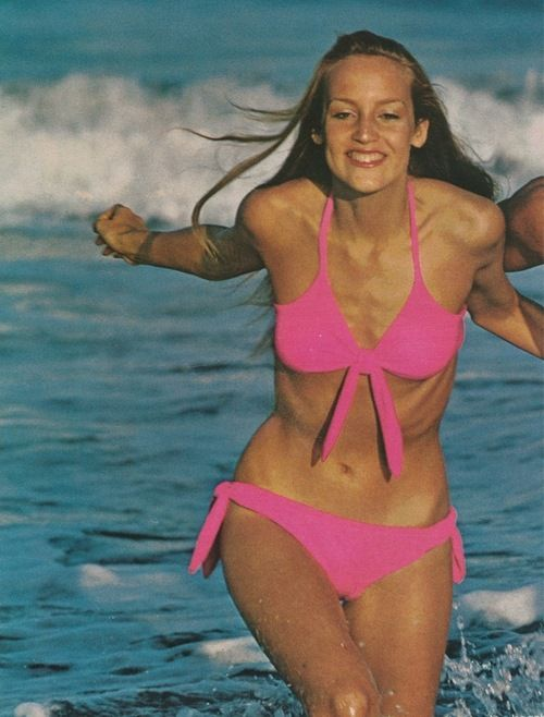Jerry Hall in swimwear for Vogue Patterns, Summer 1975. Photo by Steve Horn.