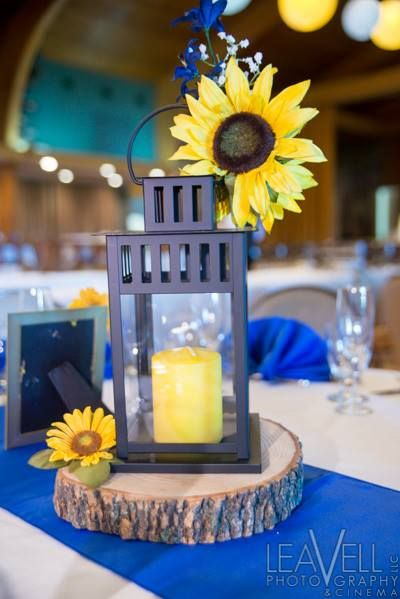 Lantern with sunflower wedding centerpiece
