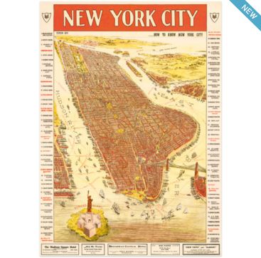 New York City Map - wrapping paper from Cavallini & Co. Available at Bobangles.