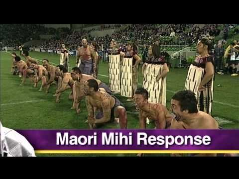 Storm v Warriors - Anzac Day Indigenous Performance, April 25, 2011 - This is fascinating as it shows the Aussie Aboriginals reply to the New Zealanders traditional pre match Haka