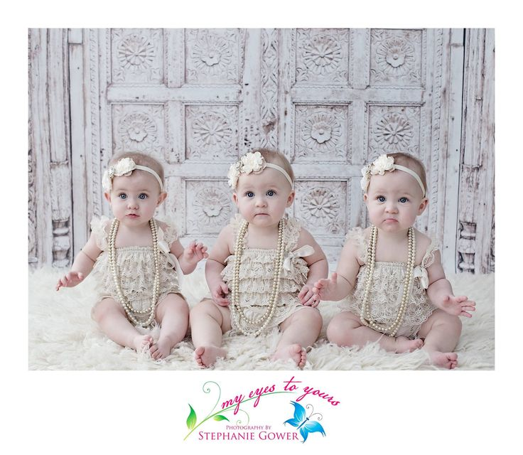 Triplet love!   Triplets in studio for their first birthday. www.myeyestoyours.com London, ON #photographer #photography #children #babies #LndOnt