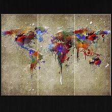Mapa do mundo impresso fotos grupo de arte da parede da lona abstrata