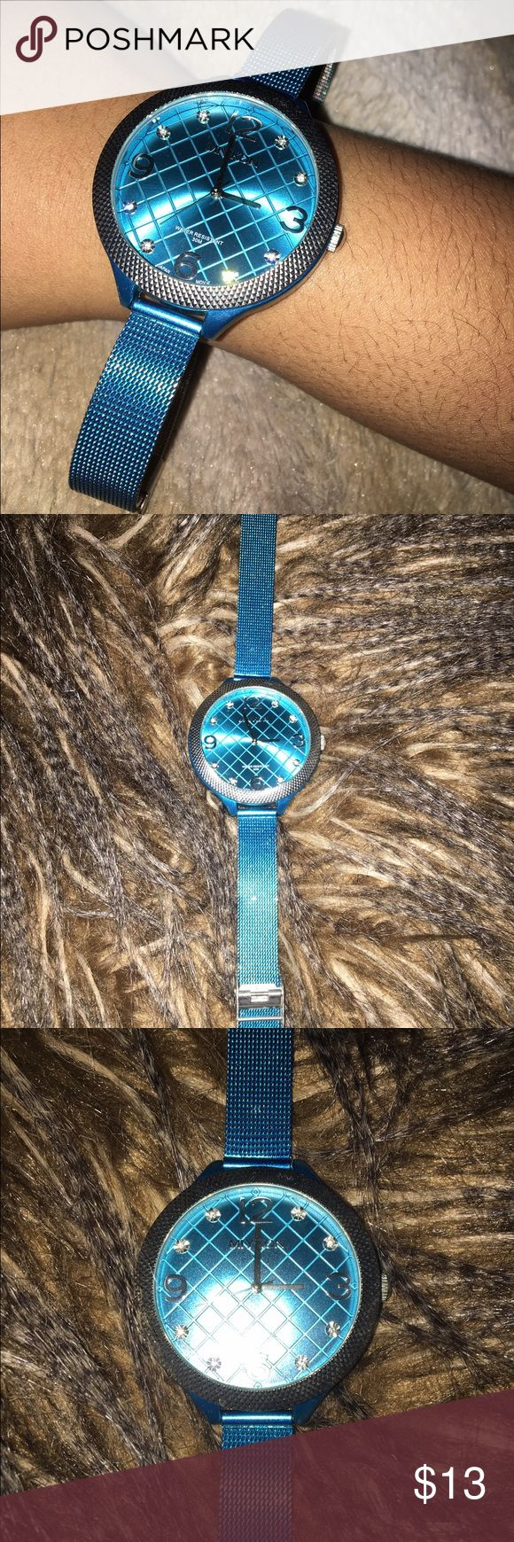 ⌚️BRAND:MIYOKON , COLOR: BLUE STAINLESS STEEL Big face watch, thin strap, Adjustable, Blue colored, water resistant, Light weight. Accessories Watches