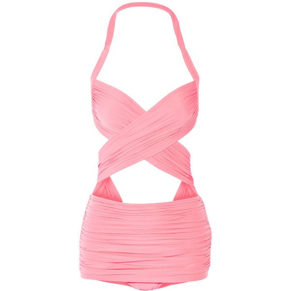 Norma Kamali XO Bill Mio ruched cutout swimsuit ($365) ❤ liked on Polyvore featuring swimwear, one-piece swimsuits, swimsuits, bikini, swim, bathing suits, pink, one piece swimsuits, pink swimsuit and halter bikini top