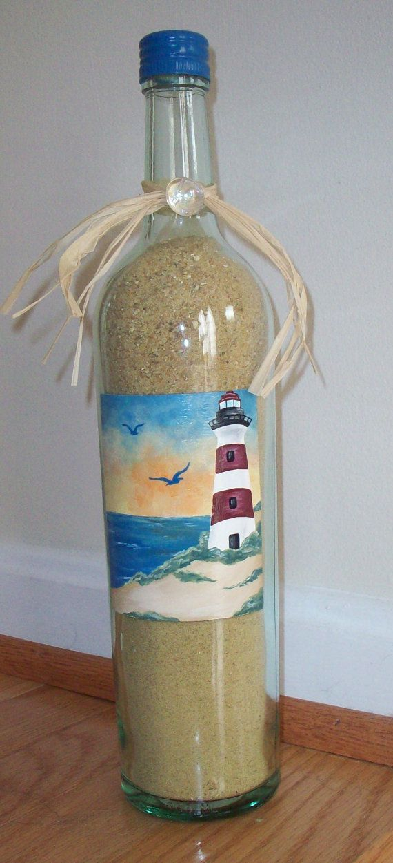 Hand Painted Beach Lighthouse Wine by keepitsassydesigns on Etsy, $25.00