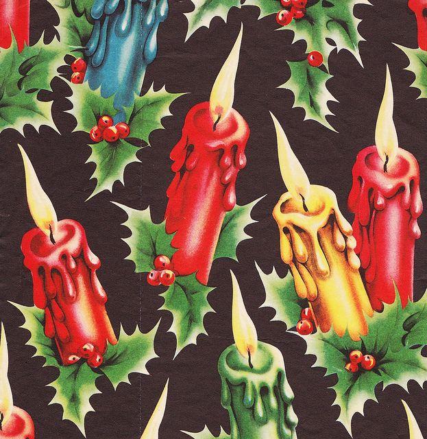 Vintage Christmas Wrap Candles Black