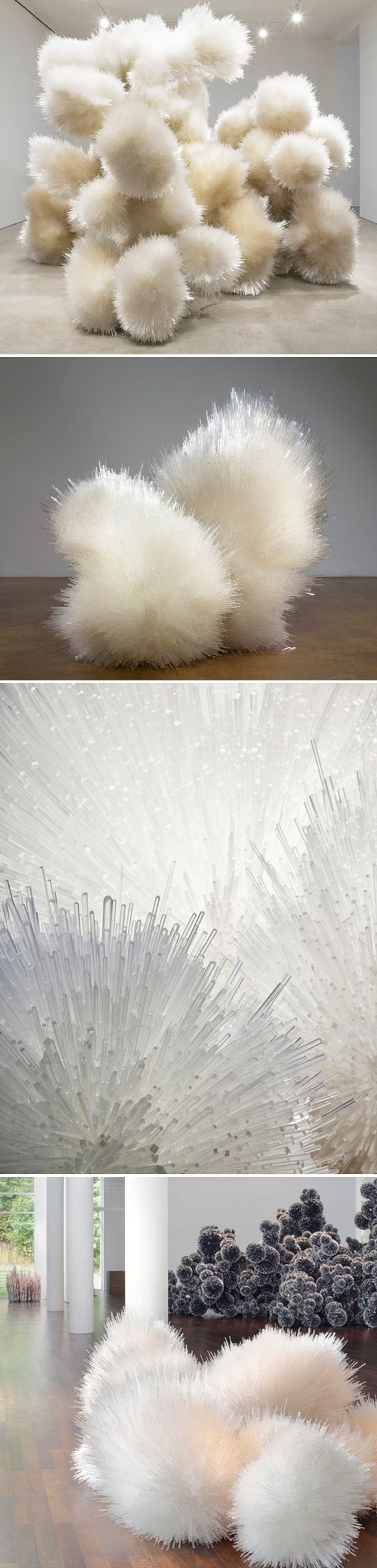 Giant/fluffy pussy willows, and pink stalagmites? Nope. Bunches of acrylic rods, and stacks of buttons. Insane. This is the breathtaking work of Brooklyn based installation artist Tara Donovan. And it's pretty amazing