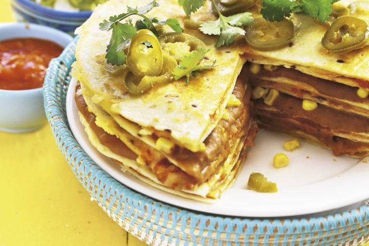 Kijk wat een lekker recept ik heb gevonden op Allerhande! Tortillataart met guacamole