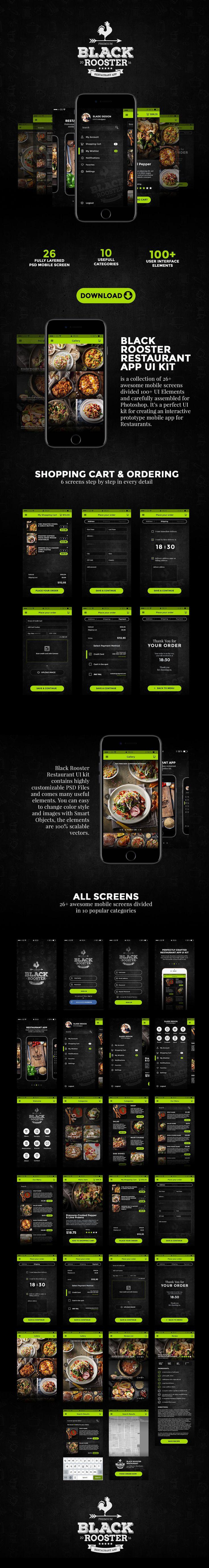 Black Rooster Restaurant App UI Kit on Behance