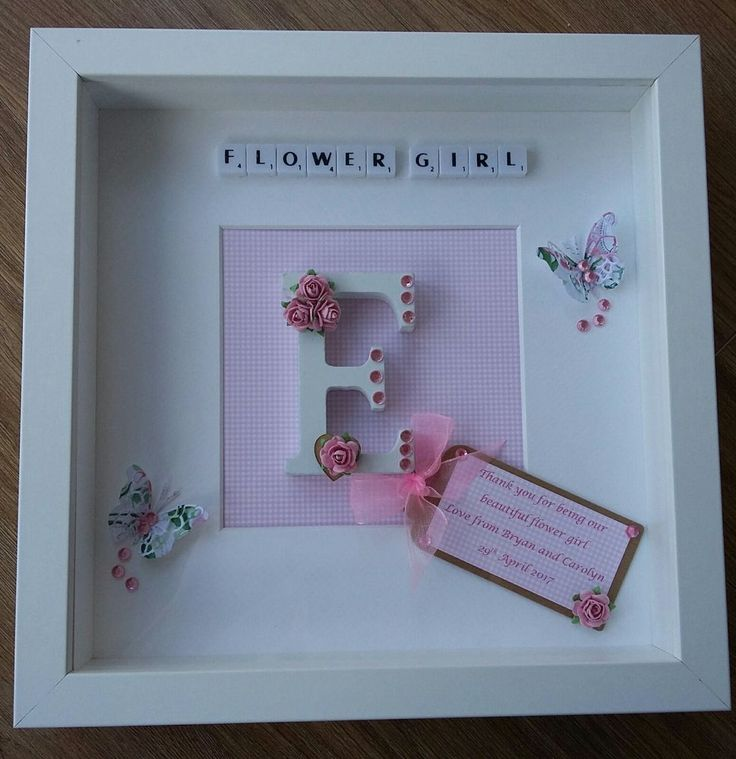 """PERFECT AS A GIFT FOR A BRIDESMAID, FLOWER GIRL OR MAID OF HONOUR. A WHITE LETTER OF YOUR CHOICE DECORATED WITH MULBERRY PAPER ROSES, DIAMANTES AND A WOODEN HEART SITS IN THE CENTER. YOU ARE BUYING A 10 x 10"""" SCRABBLE ART FRAME IN WHITE. 
