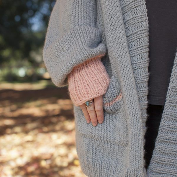 Hello Sunday Cuddle Cardigan knit in Sumptuous by The Woven  Pockets for stashing chocolate in this oversized snuggly sweater, perfect for fall