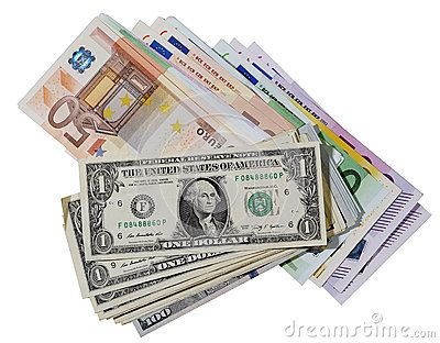 Two packs of banknotes,  euro and dollars