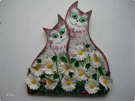 Картина панно рисунок Лепка кошки Гипс Фарфор холодный