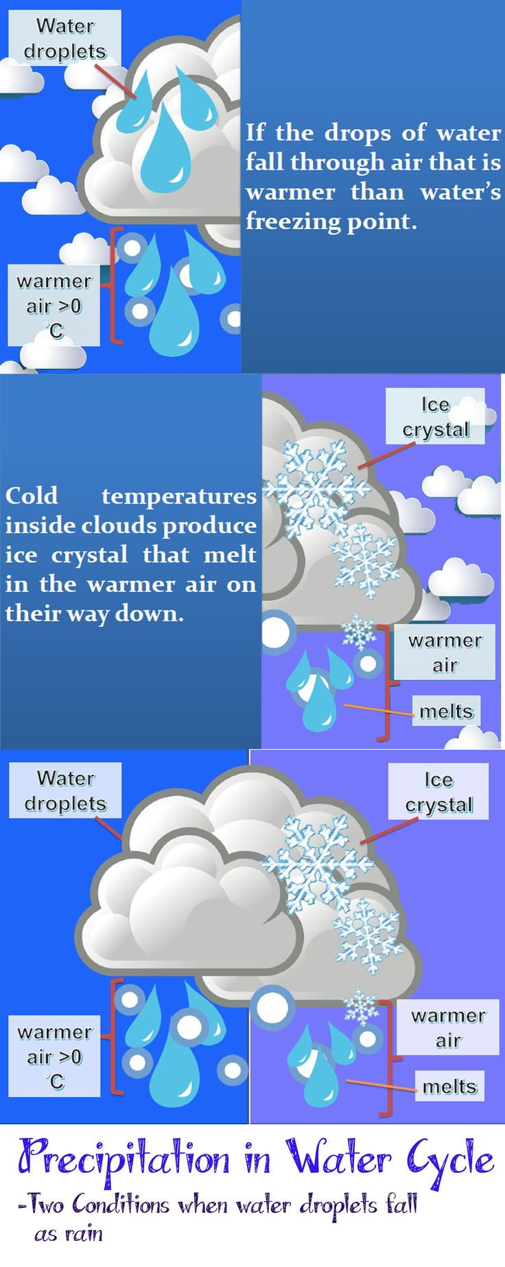 Assignment Week 4: This is the visual picture explain the two possible conditions that water falls as rain. It all depends on the temperatures outside the clouds.