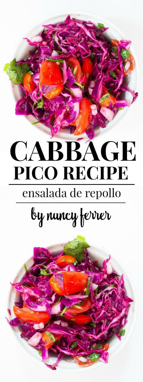 Cabbage Pico Recipe (ensalada de repollo) | http://nancyferrer.com/cabbage-pico-recipe/ (vegan, raw, salad, healthy, summer salad)