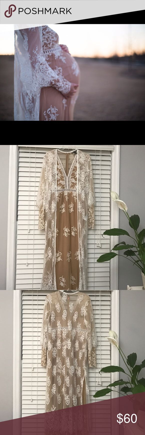 Maternity gown + lace kimono Beautiful nude and white gown with complimenting lace kimono only worn once! Forever 21 Dresses Maxi