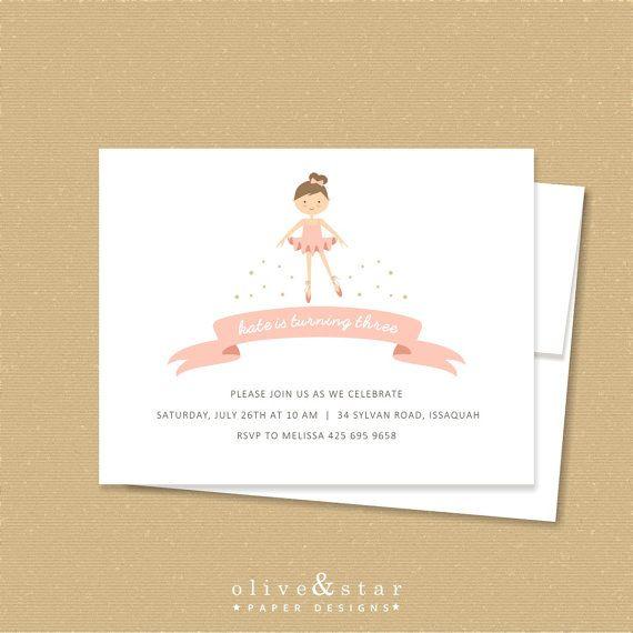 ballerina / / invito di compleanno per bambini di OliveandStar
