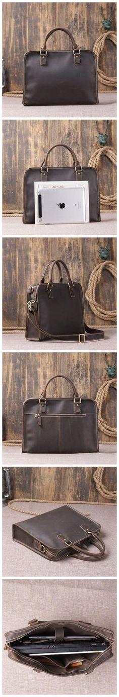 Genuine Leather Briefcase Laptop Shoulder Bag Crossbody Bag