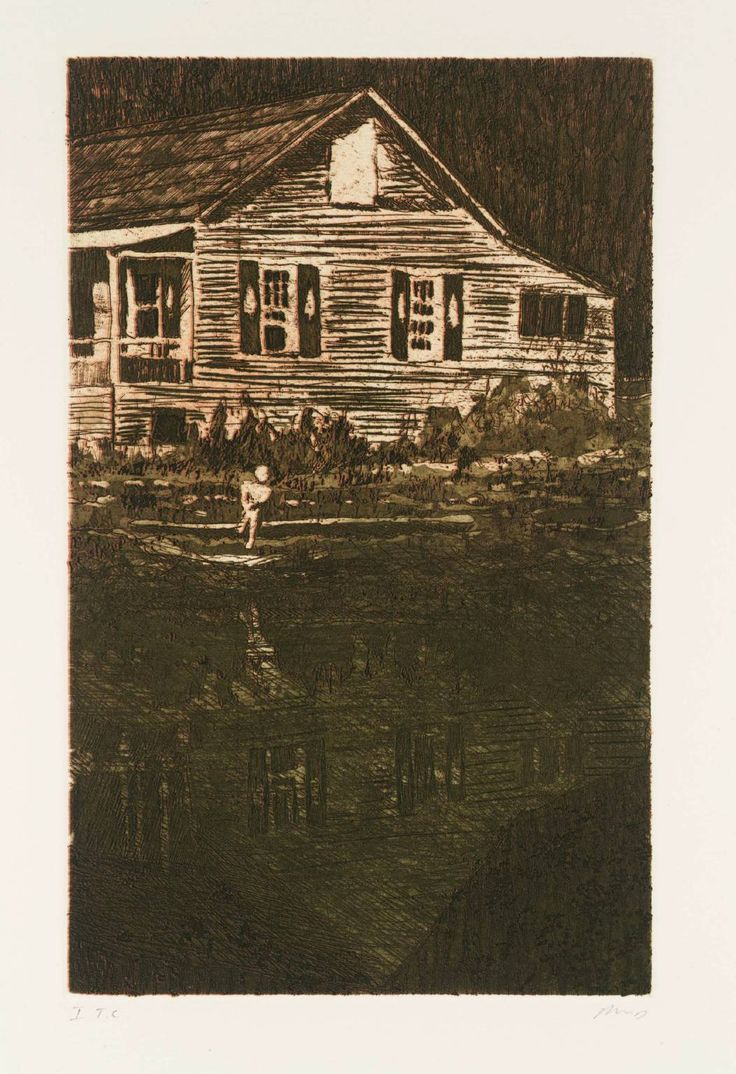 Peter Doig 'Camp Forestia', 1997   etching © Peter Doig