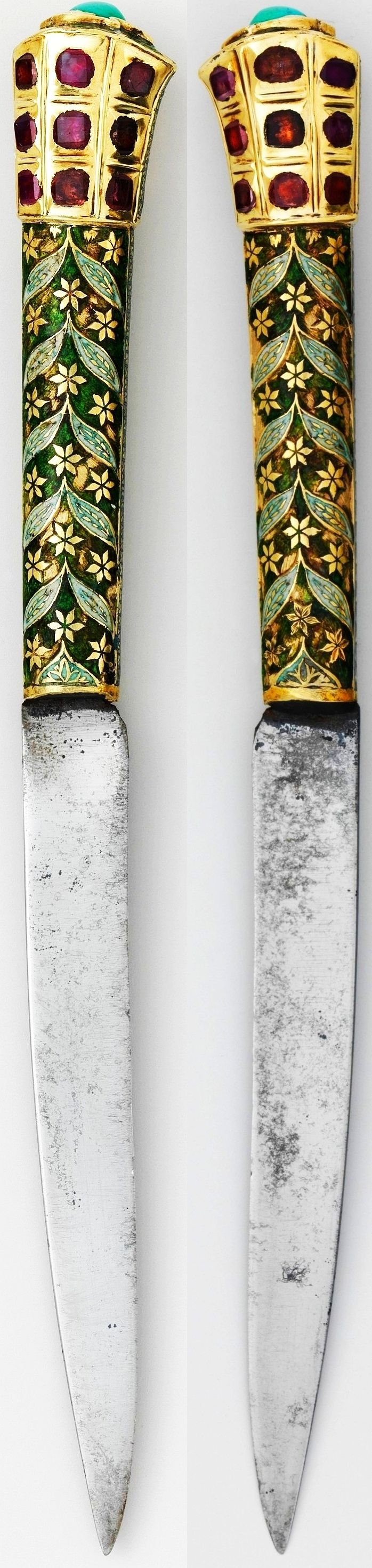 Indian dagger, 18th century, silver gilt; enameled and set with rubies over foil and turquoise, 7 in., Met Museum.