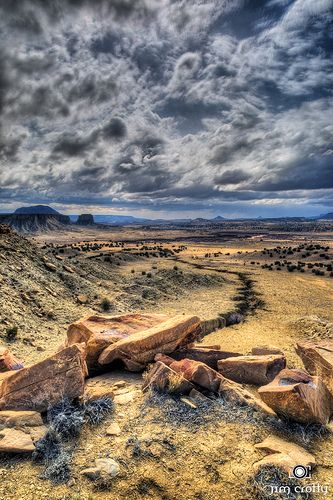 Land of the Navajo ....  Sky and landscape in the Cabezon Wilderness Area of New Mexico by Jim Crotty