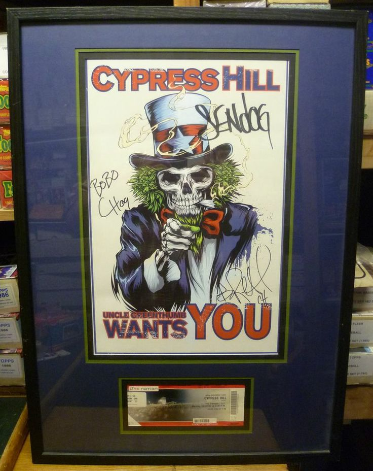 AWESOME Autographed Cypress Hill Framed Poster & Ticket from the Fillmore - SF!!!!  Cypress Hill Framed & Matted 3 Auto Poster & Ticket - Fillmore SF 4/20/09 NICE