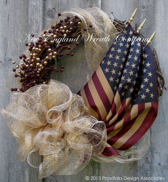 Americana Wreath Fall Wreath Autumn Wreaths by NewEnglandWreath. Would love to make something like this for Mom and Dad's grave.