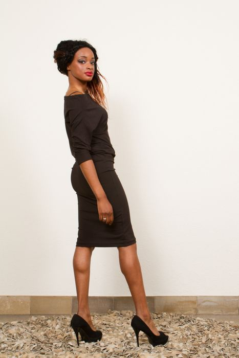 Pearl is a black dress made from sturdy stretch fabric, with a pencil skirt that can be worn overknee, or shorter with a flattering ripple on the  hip or waist. The top is bias cut and can be worn off-shoulder.