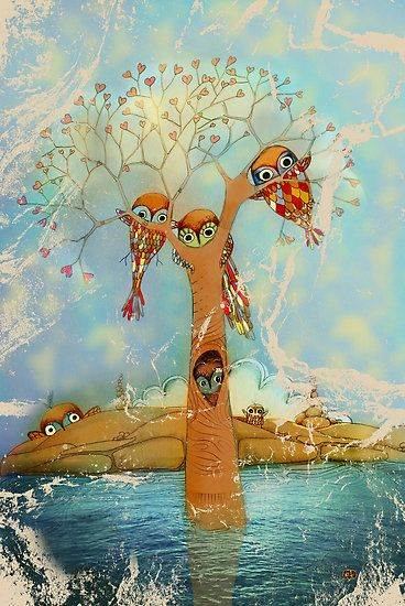 Tree of love owls, by Karin Taylor.