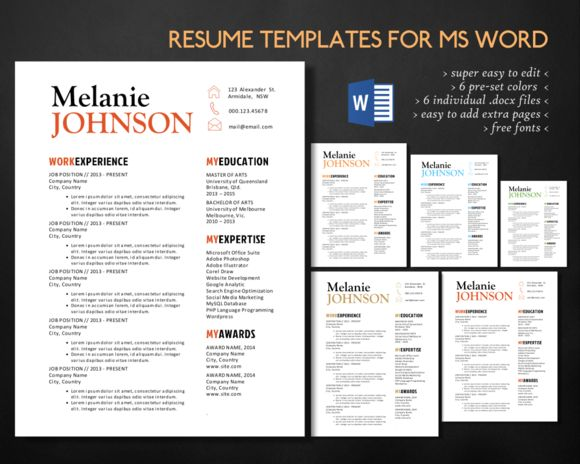 Top 25 Ideas About Microsoft Word Resume Templates On Pinterest