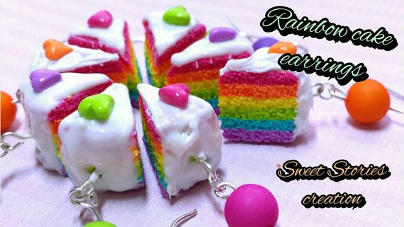 Rainbow cake earrings - food miniature ring - polymer clay jewelry by Sweet Stories creation