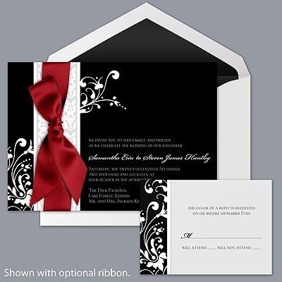 Forever Color - Black invitation with red ribbon. #DBBridalStyle