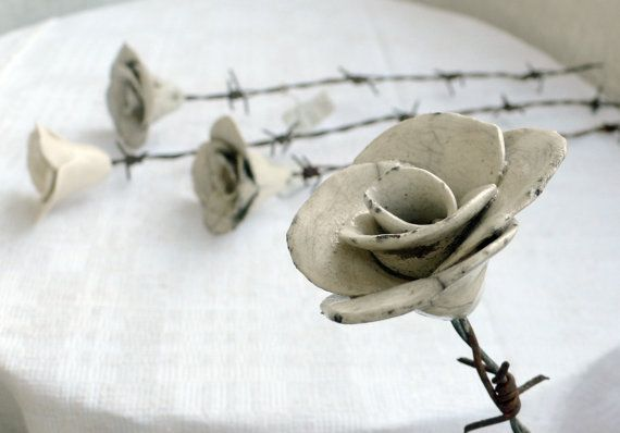 Barbed wire rose by ValonaDesign on Etsy,